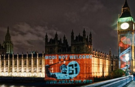 'Modi Not Welcome' Projection On British Parliament